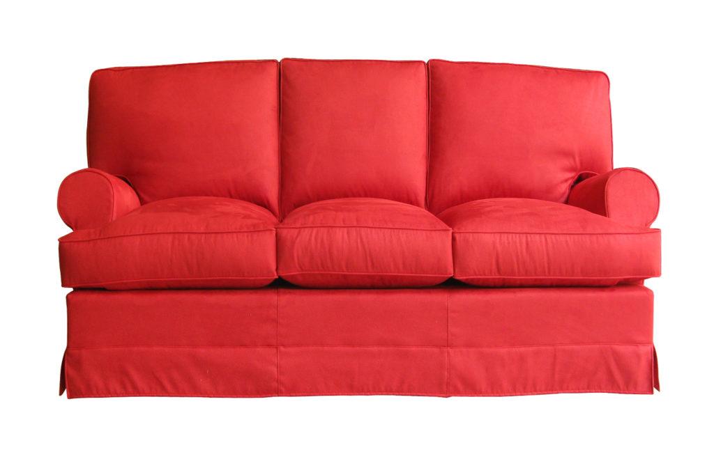 Divano 3 posti in tessuto rosso