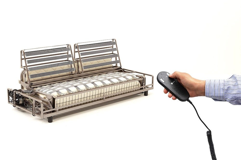 Sofa bed mechanism with electric opening